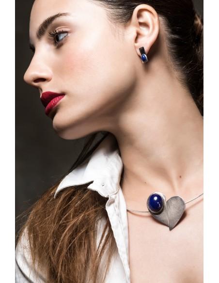 Pulsera corazón de plata y Lapislázuli