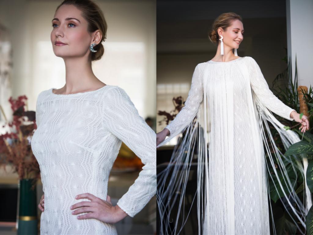 dúo 3 vestido María Baraza y pendientes Eme Jewels